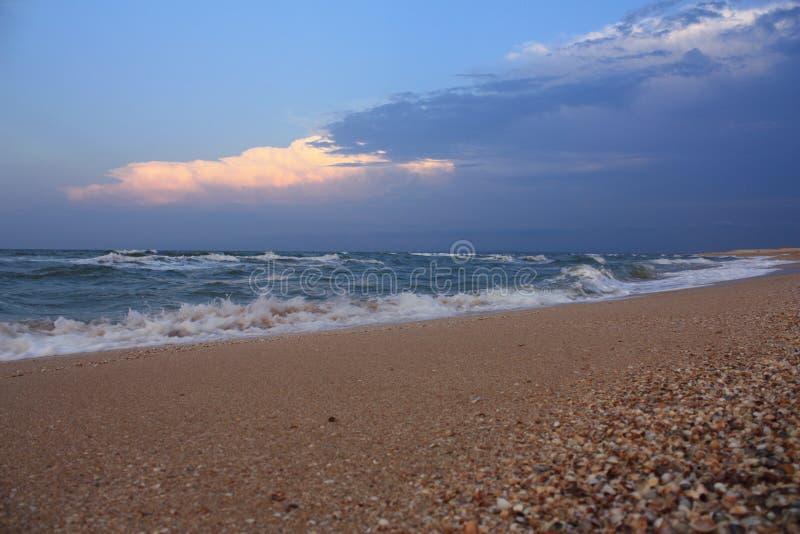 Sea beach after the rain stock image