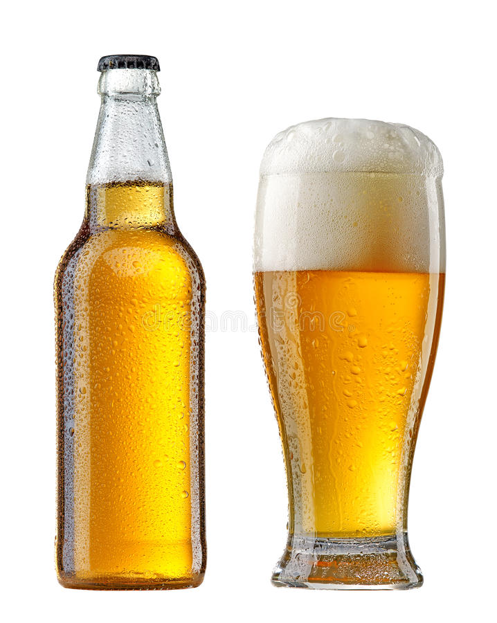 Wet beer bottle and glass stock photos
