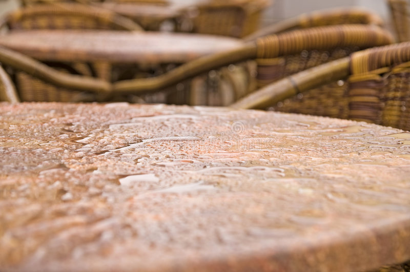 Wet bistro table royalty free stock photo