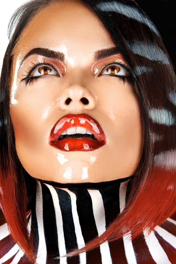 Wet Brunette Looking Away In Studio Stock Images