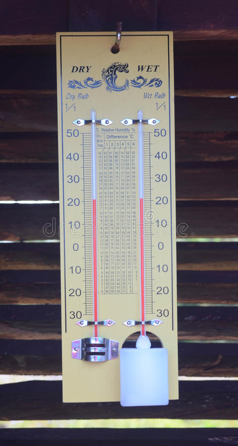 Wet bulb dry bulb thermometer. On wood slat wall royalty free stock photo