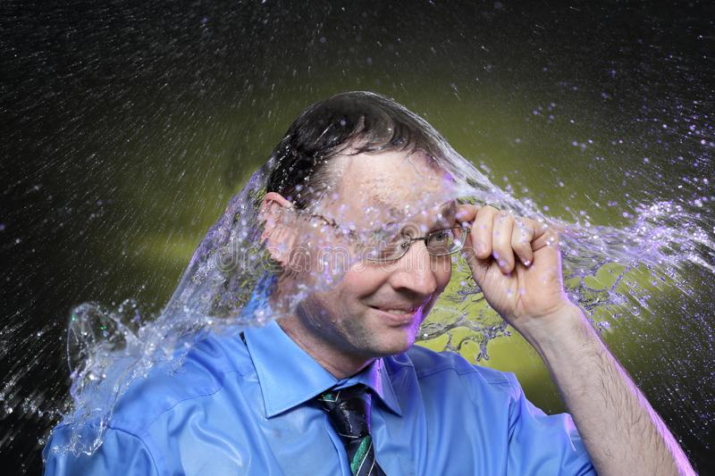 Wet business man royalty free stock photos