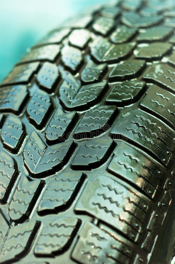 Wet Car Tire Royalty Free Stock Photography