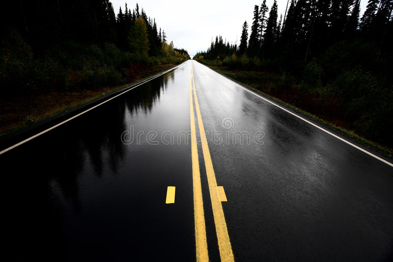 Wet Cassiar Highway. Through Northern British Columbia stock images
