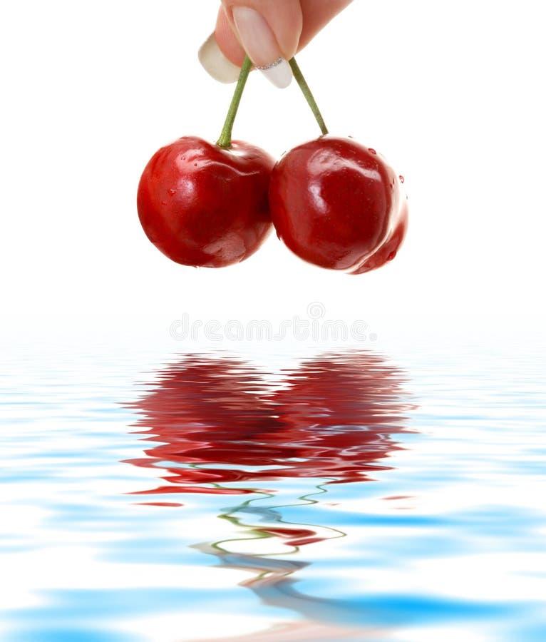 Wet cherry royalty free stock photos