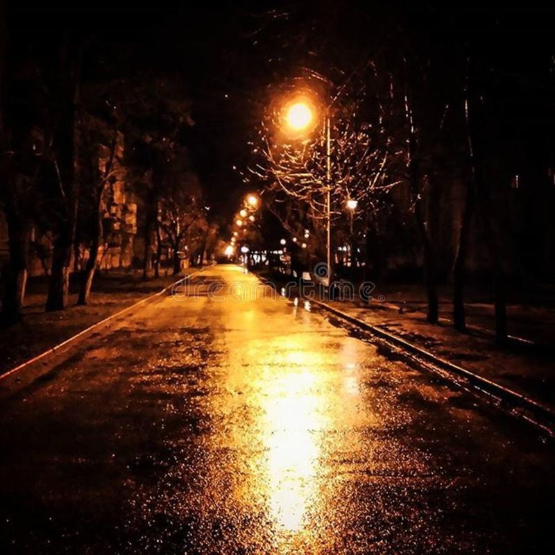 Wet city street at night