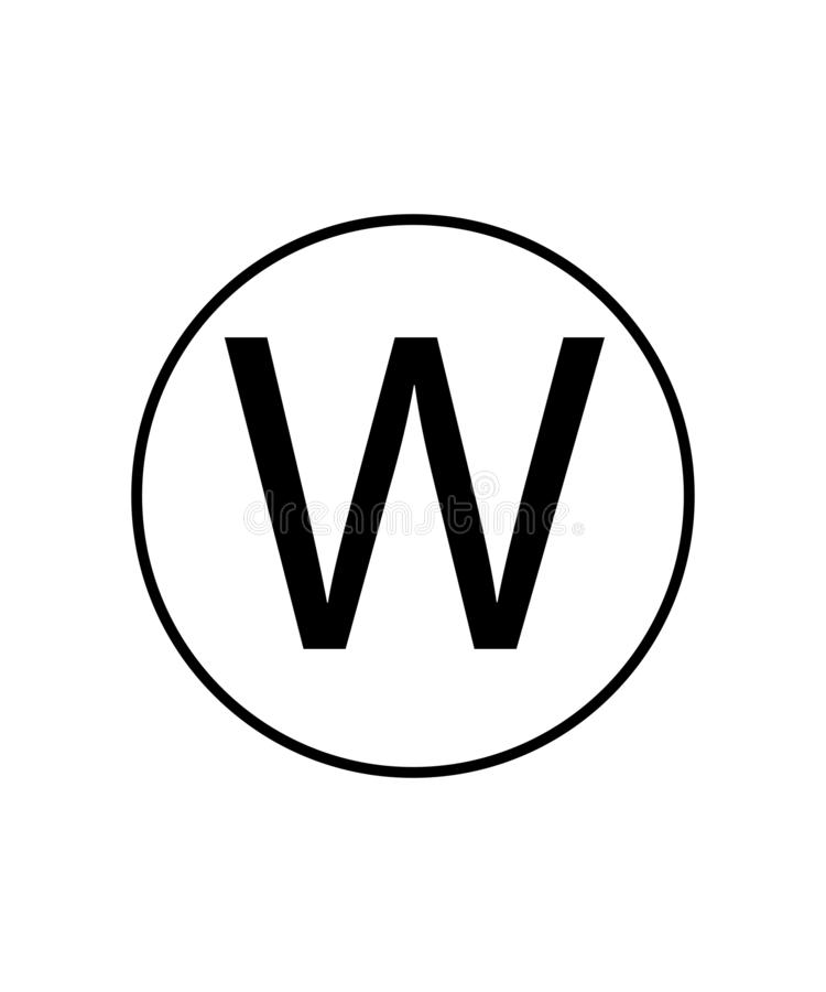 Wet cleaning sign.Laundry symbol.Letter W in a circle sign. Eps ten vector illustration