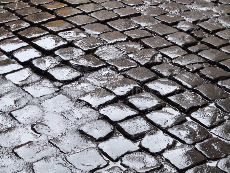 Download Wet cobbles stock photo. Image of water, rainy, rome, storm - 1567582