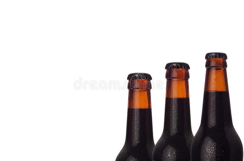 Wet cold brown dark beer bottles closeup, half bottle view, isolated on white background. royalty free stock photography