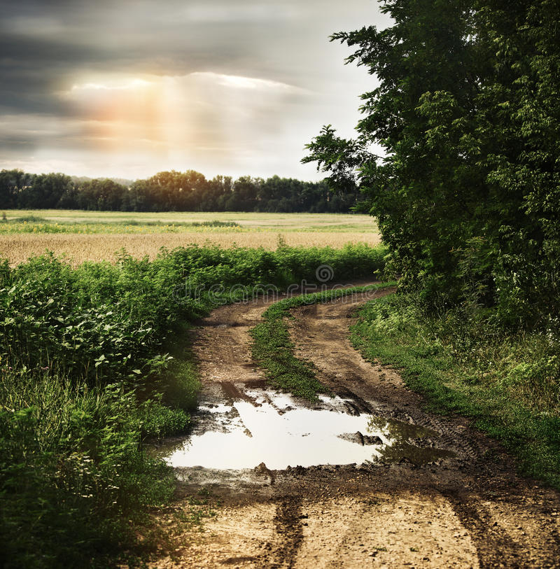 Wet countryside road with dark cloudy sky. Dramatic wet countryside road with dark cloudy sky on the background stock photos