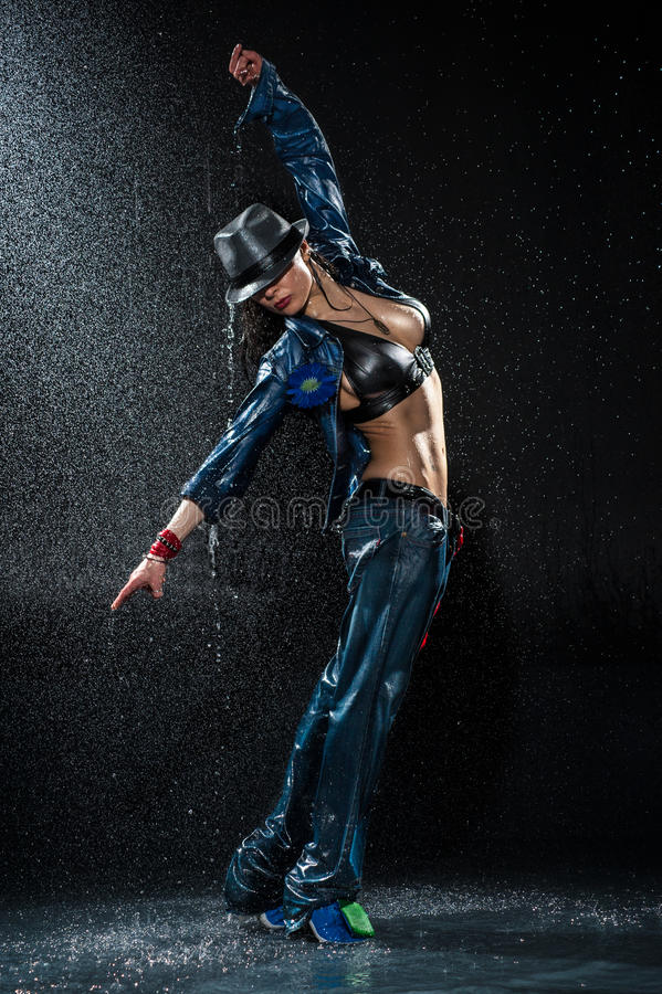 Wet dancing woman. royalty free stock images