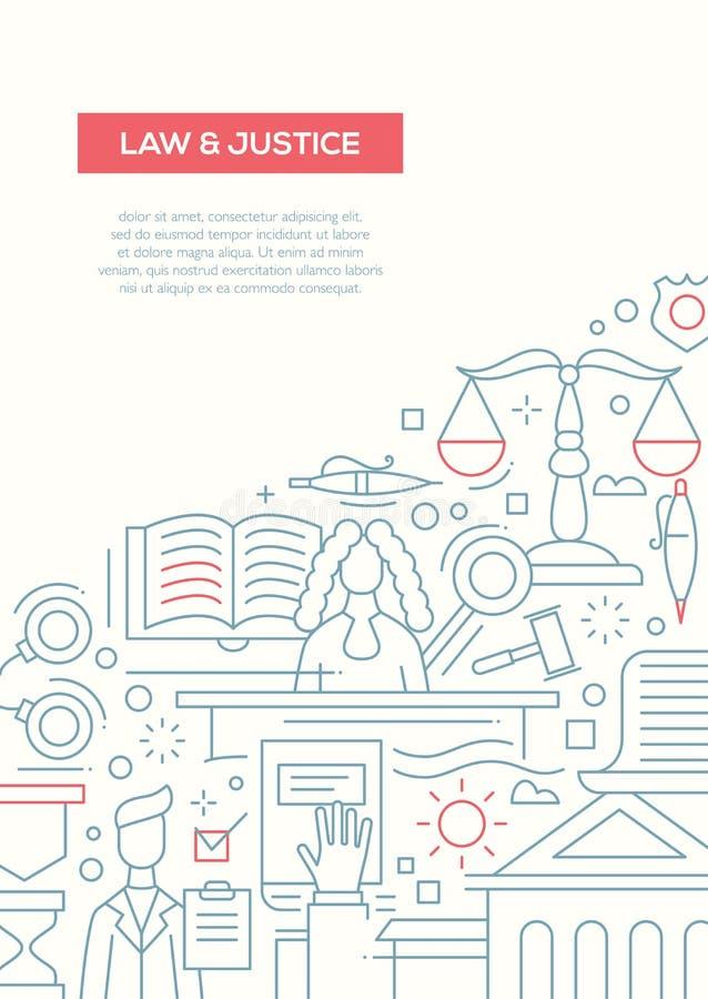 Wet en Rechtvaardigheid - het malplaatje van de de brochureaffiche van het lijnontwerp A4 vector illustratie