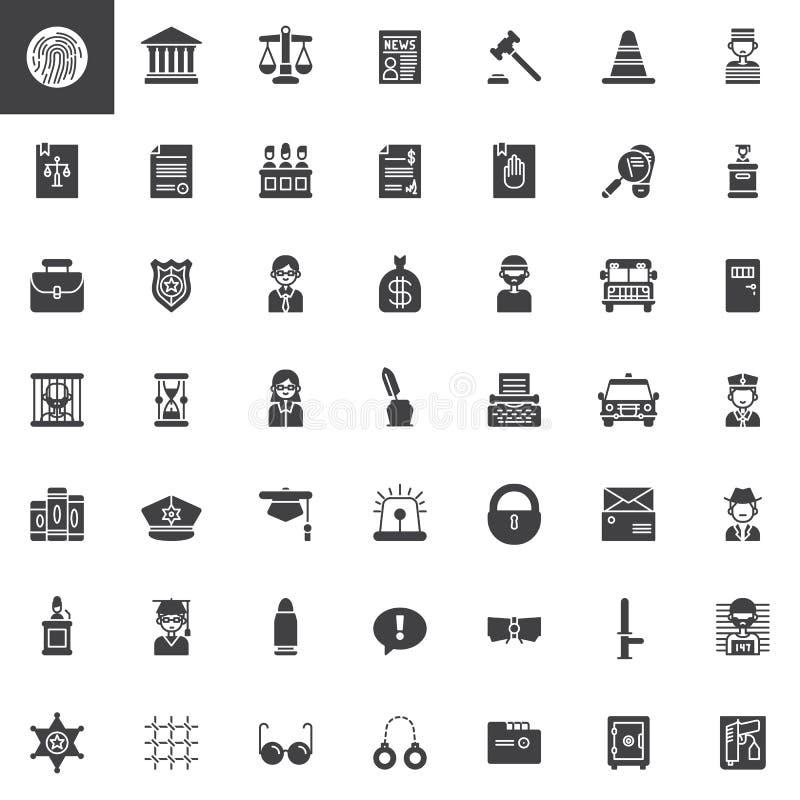 Wet en rechtvaardigheids vector geplaatste pictogrammen vector illustratie
