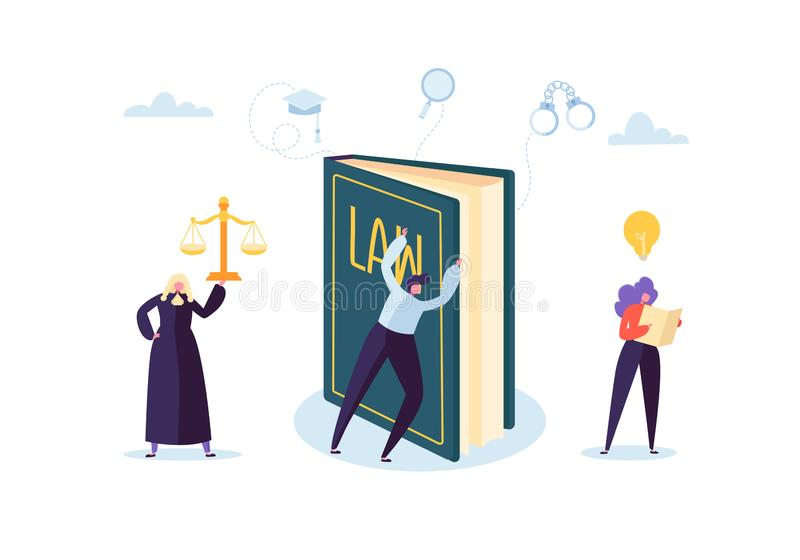 Wet en Rechtvaardigheidsconcept met Karakters en Gerechtelijke Elementen, Wetboek, Advocaat Vonnis en Hof Jurymensen royalty-vrije illustratie