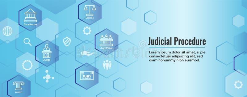 Wet en Wettelijk die Pictogram met Rechter, Jury, en Gerechtelijke pictogrammen wordt geplaatst vector illustratie