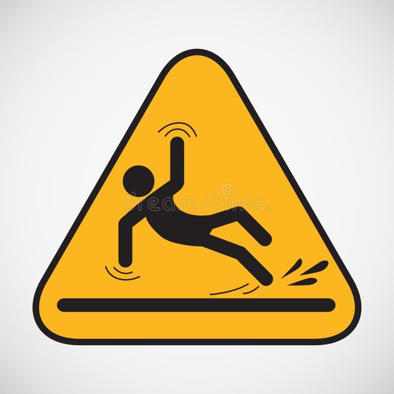 Wet floor caution sign. stock illustration