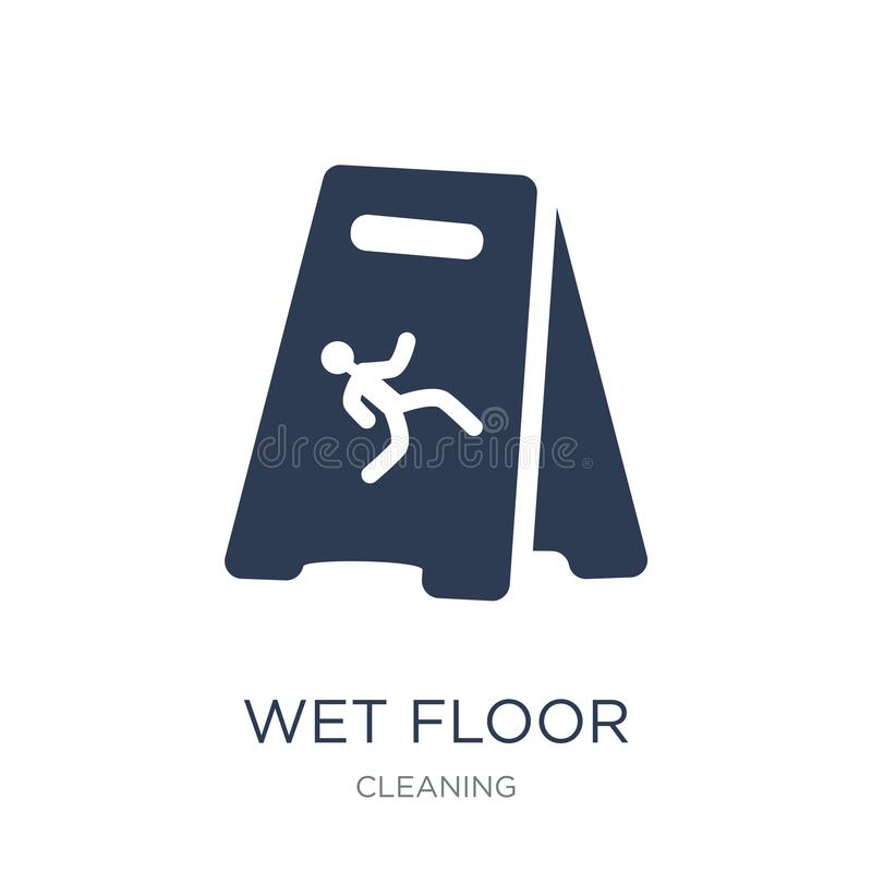 Wet floor icon. Trendy flat vector Wet floor icon on white background from Cleaning collection. Vector illustration can be use for web and mobile, eps10 stock illustration