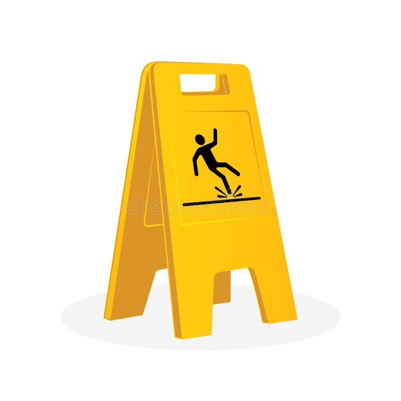 Wet floor sign, falling man. royalty free illustration