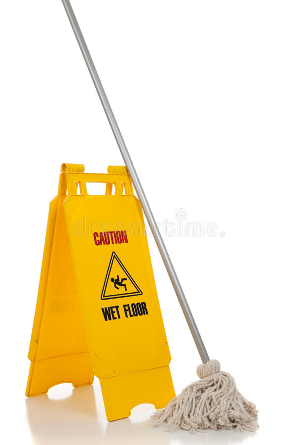 Download Wet Floor Sign And Mop On White Background Stock Photo - Image of falling, janitor: 11170094