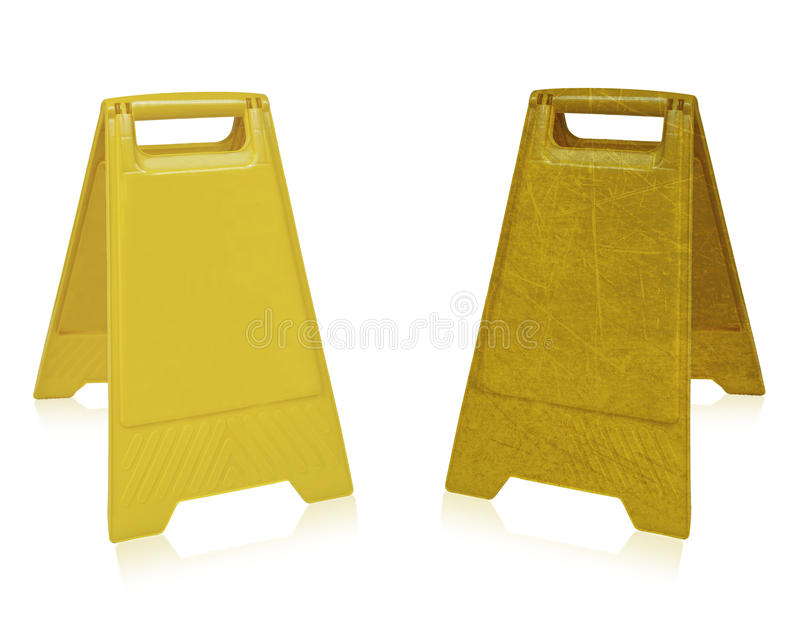 Wet floor sign. Yellow sign that alerts for wet floor. (with clipping work path royalty free stock image