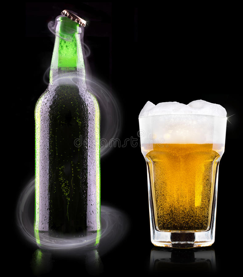 Download Wet fresh beer stock photo. Image of cold, brown, cool - 37709812