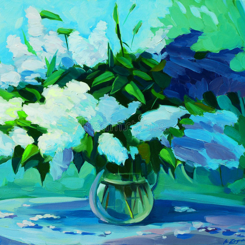 Wet fresh bouquet of lilacs, oil painting on canvas, illustratio stock photo