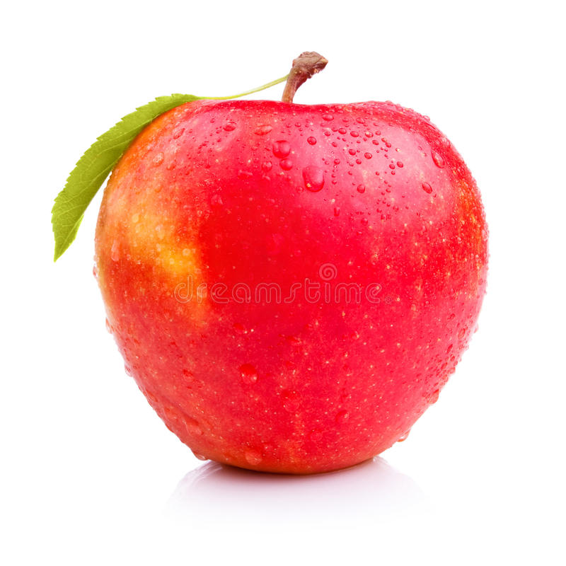 Free Wet Fresh Red Apple With Leaf Stock Images - 25341514