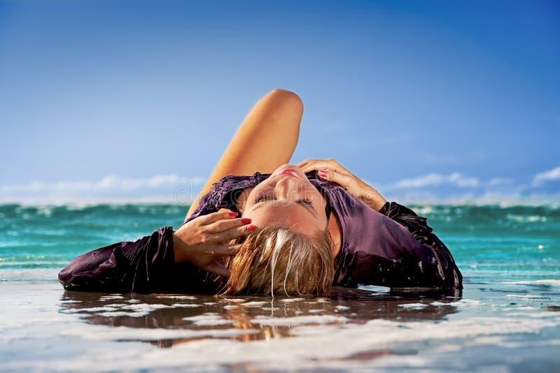 Download Wet girl stock image. Image of recreation, people, horizon - 10557063