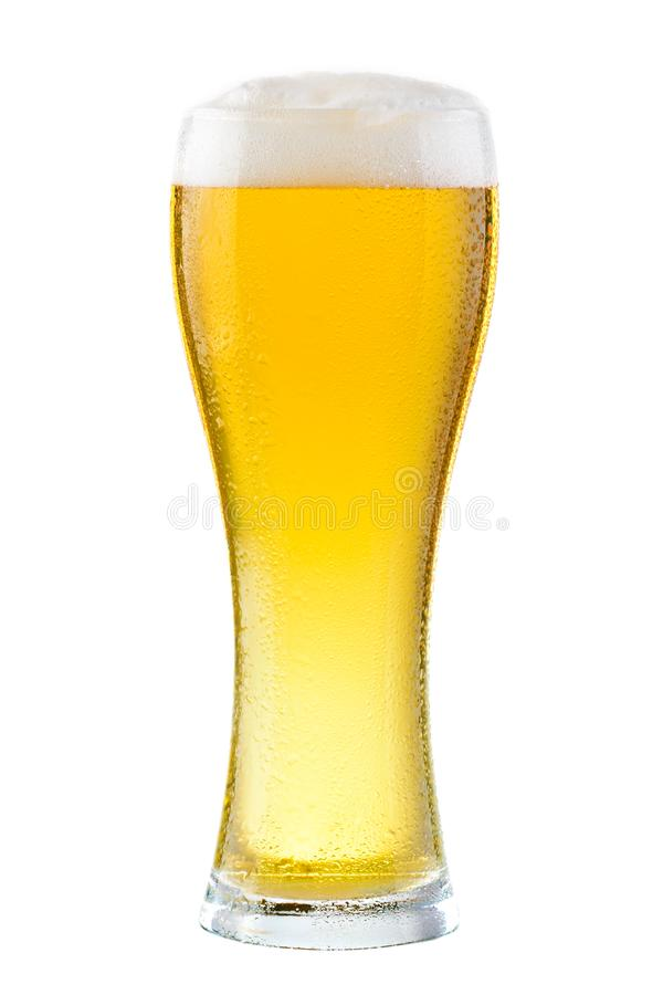 Wet glass of fresh cold light beer with foam isolated on white b royalty free stock photography