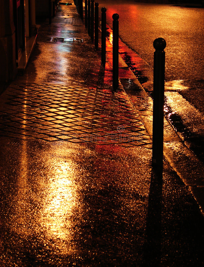Download Wet golden street stock photo. Image of evening, lights - 4907146