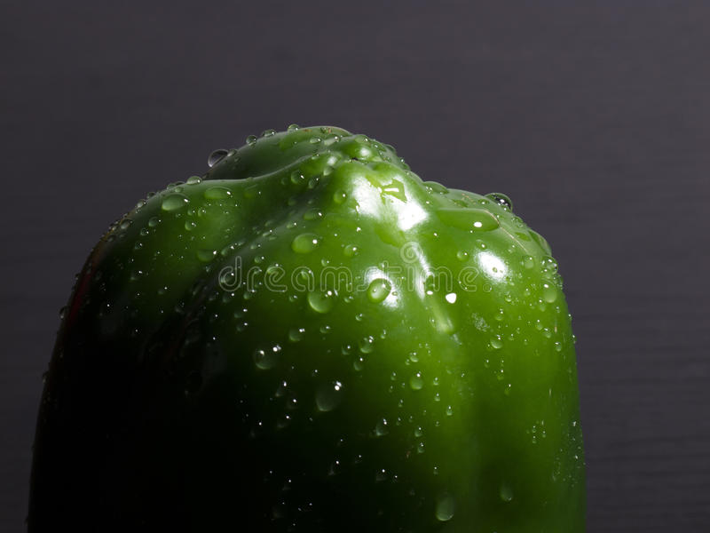A Wet Green Pepper Royalty Free Stock Photography