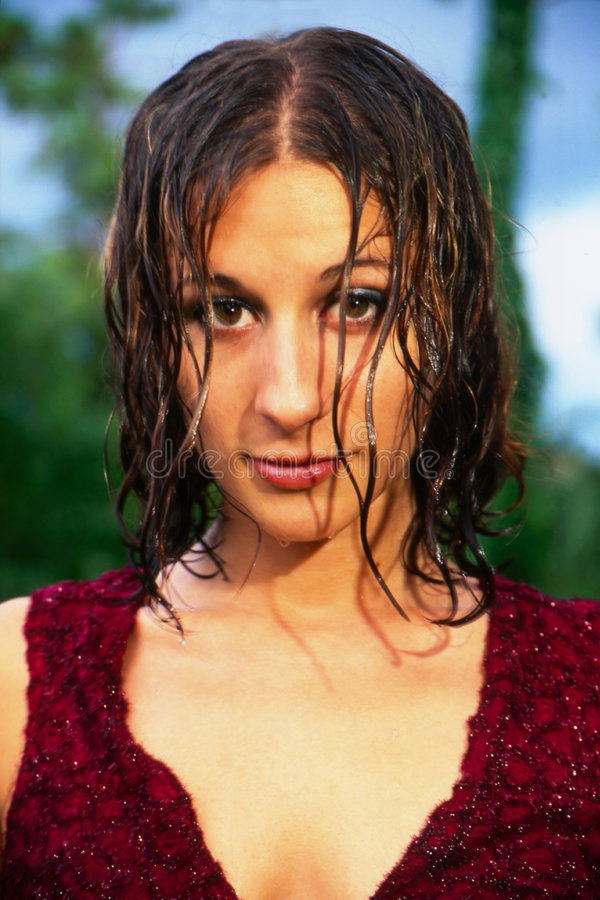 Wet Haired Girl royalty free stock image