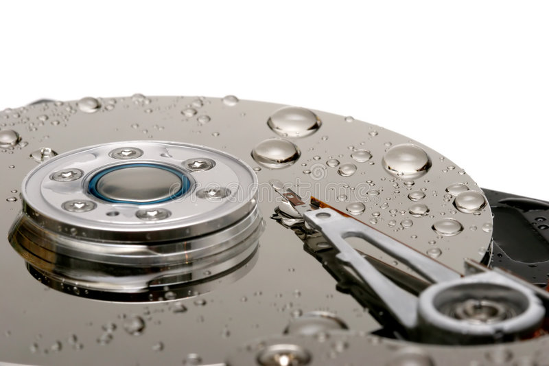 Wet hard drive stock photography