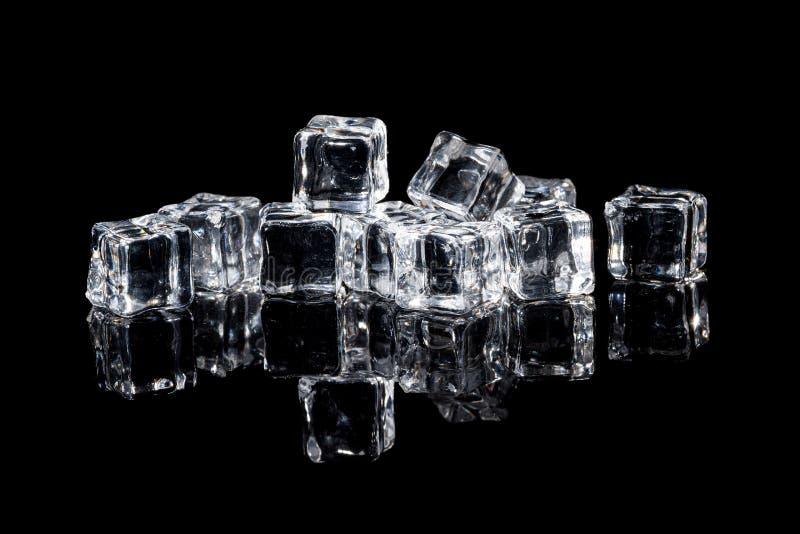 wet ice cubes on black background stock image image of