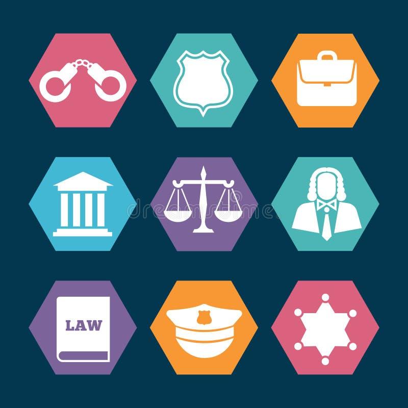Wet, justitie en politie geplaatste pictogrammen vector illustratie
