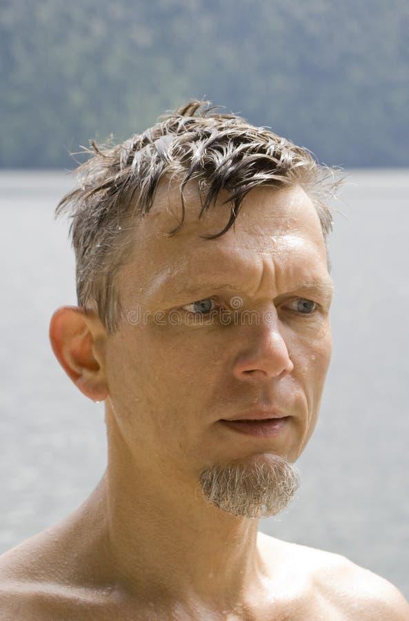 Download Wet mature man portrait stock photo. Image of content - 6996556