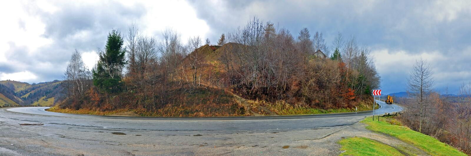 Wet mountain 180 degree traffic royalty free stock photography