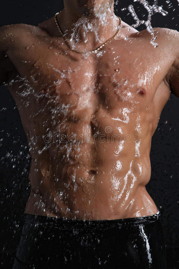 Download Wet Muscle Young Man Torso Under The Rain Stock Image - Image: 19403933