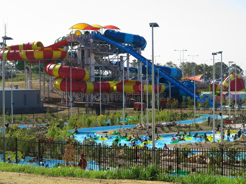 WetnWild water park with lazy river and modern sliding stock photo
