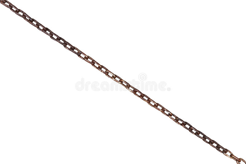 Wet old rusty steel chain isolated on white. Background royalty free stock image