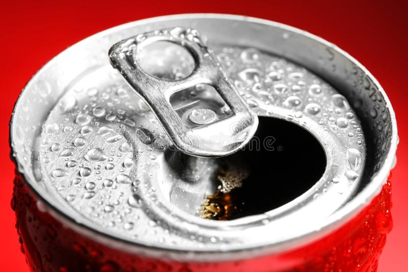 Wet open can with cold drink,. Closeup royalty free stock photo