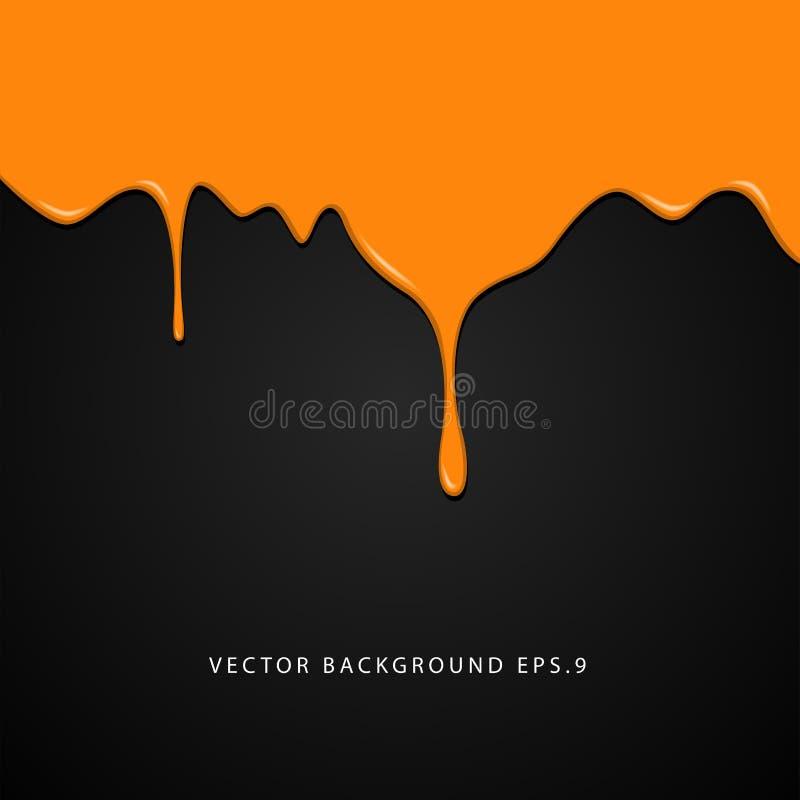 Wet orange paint on black background stock photography