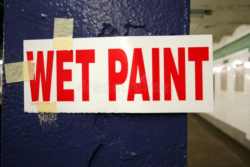 Wet paint sign stock photography