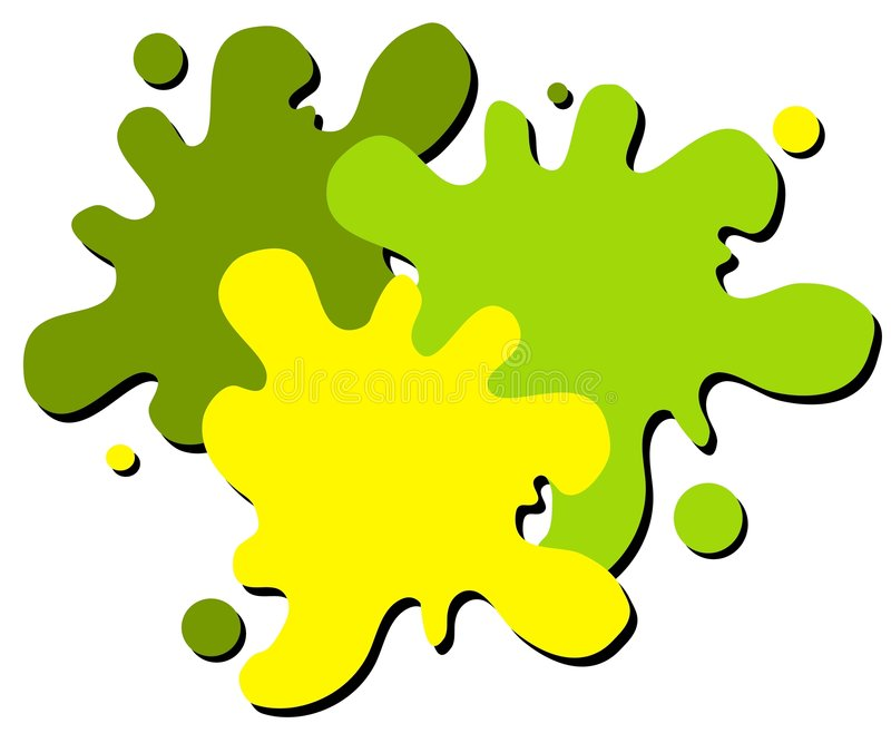 Wet Paint Splatter Web Logo 2. A simple 3-color wet paint or paintball splatter web page logo in green and yellow colors isolated on white