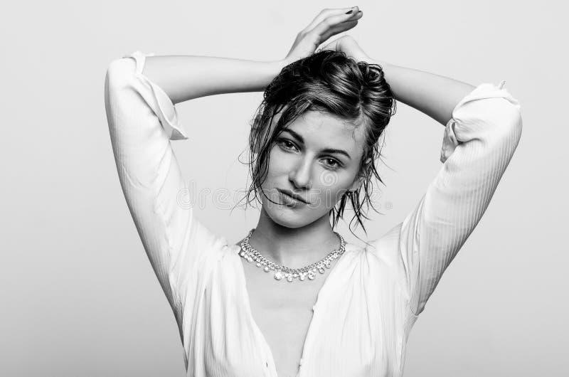 Wet portrait, black and white fashion model girl stock image