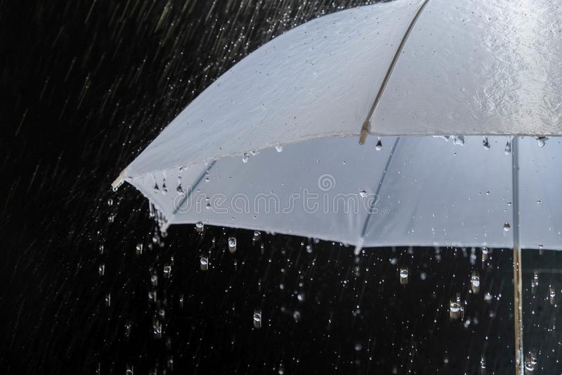 Wet protection umbrella in stormy weather with natural thunderstorm, on black background,. Wet protection umbrella in stormy weather with natural thunderstorm stock image