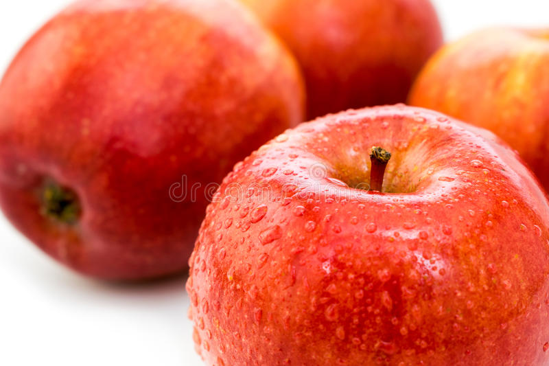 Wet ripe red apple. Wet red delicious apple close-up royalty free stock photos