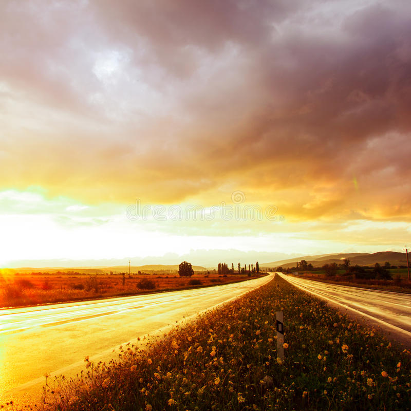 Download Wet road and sky stock photo. Image of silhouette, landscape - 28551830