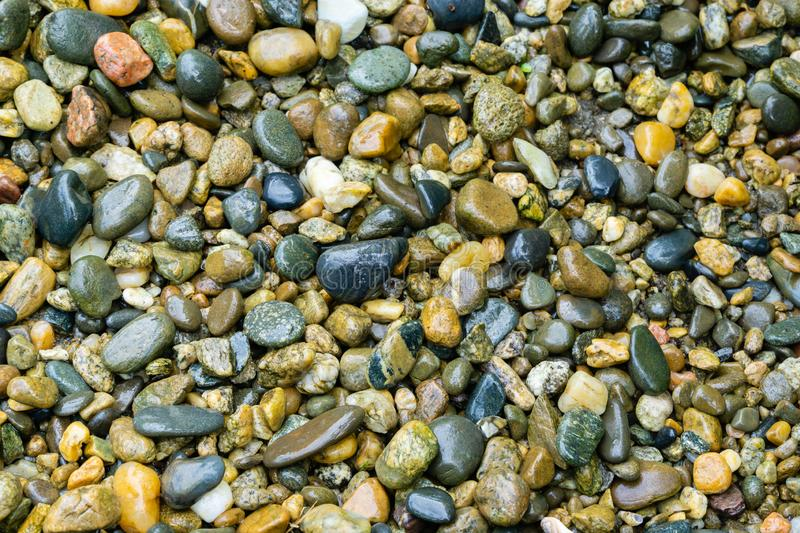 Wet sea pebbles as nature background. Beautiful sea stones of different sizes, colors and texture royalty free stock photo