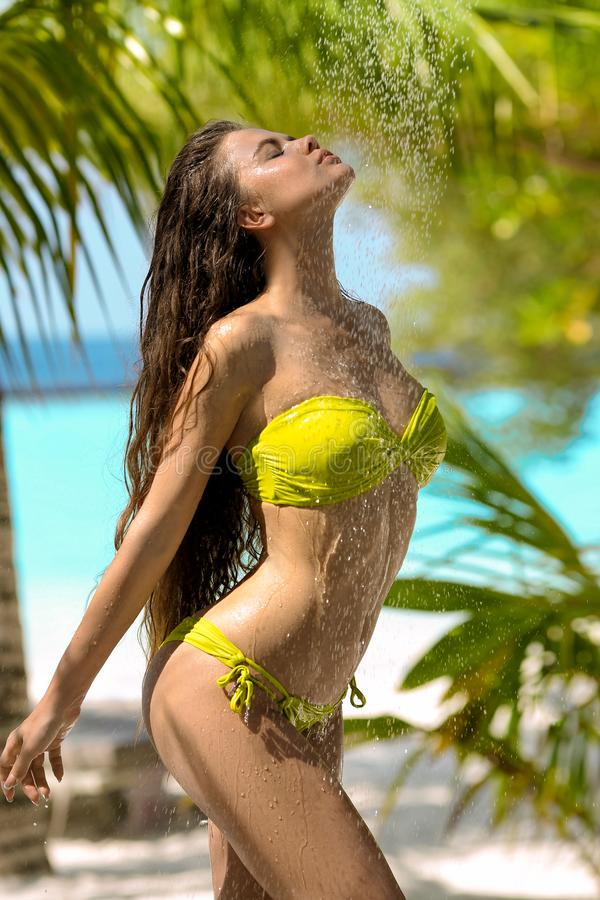 Free Wet Sexy Bikini Model EnjoCarefree Wet Sexy Bikini Model Enjoying Outdoor Tropical Shower. Beautiful Woman With Long Hair Stock Images - 147526344